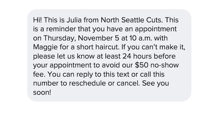 reducing no-show appointments with a text message