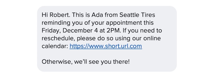 Reducing no-show appointments with text messaging