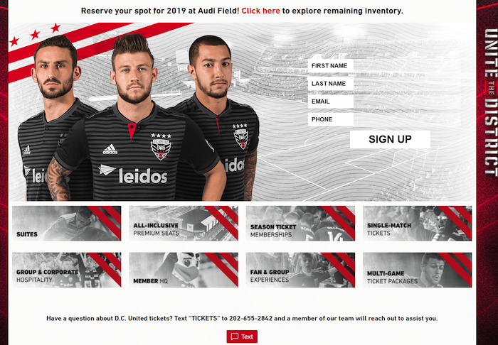 D.C. United advertises texting Keywords for ticket inquiries