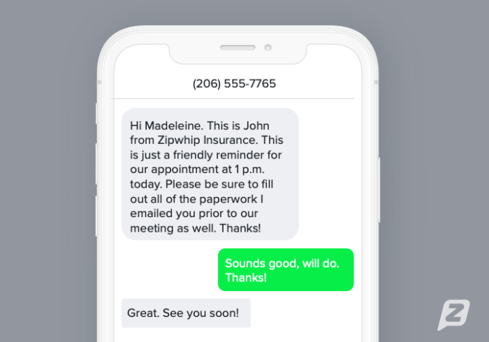 Insurance appointment reminder text template example
