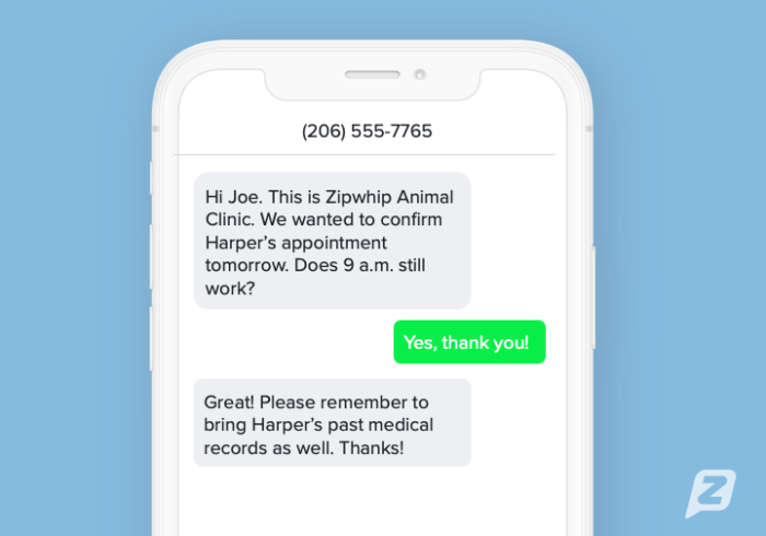 Vet appointment reminder text template example