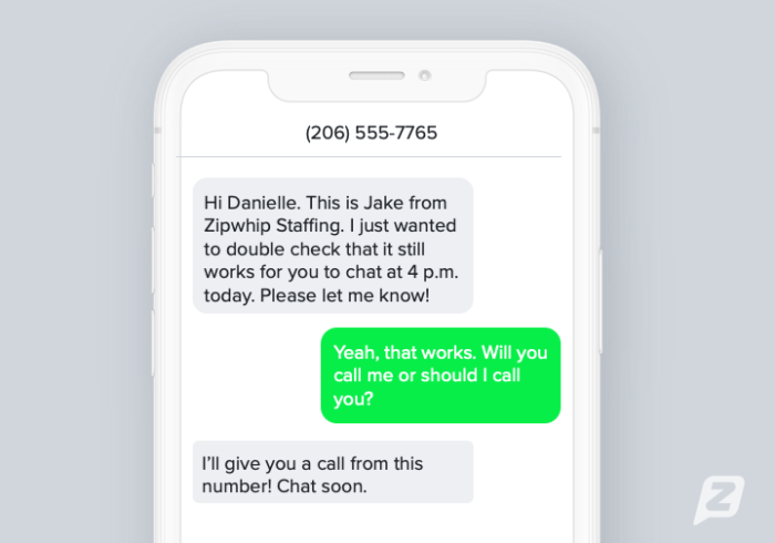 Recruiting appointment reminder text template example