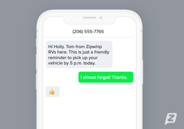 Automotive appointment reminder text template example