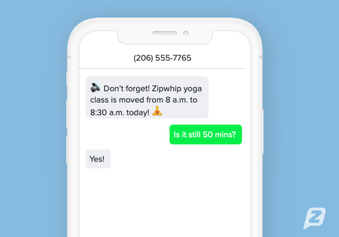 Fitness appointment reminder text template example