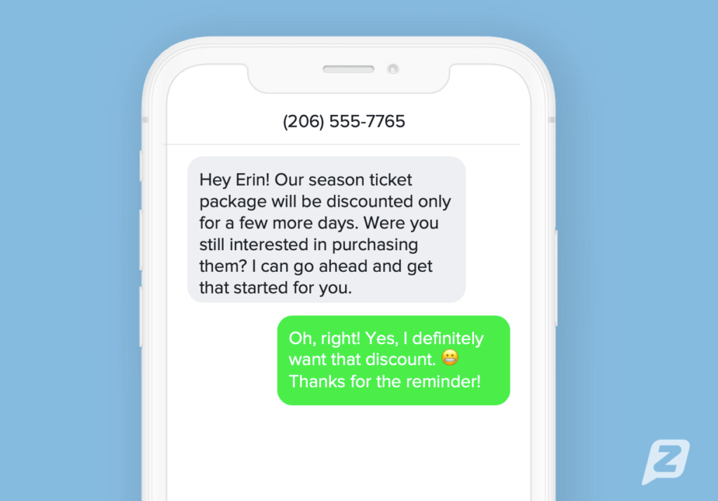 Text message to a sales prospect reminding them to purchase discounted season tickets