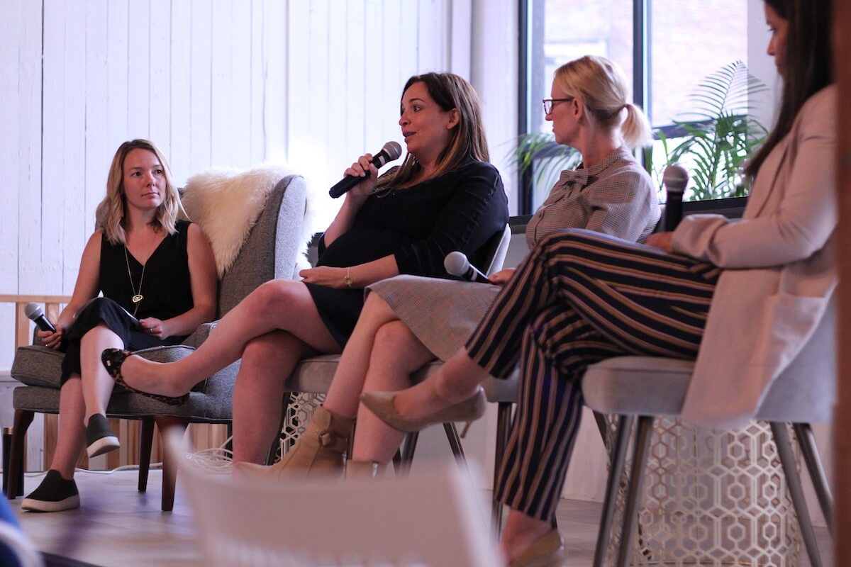 Moderator and Panelists at Zipwhip and The Riveter's WMNWORK panel.