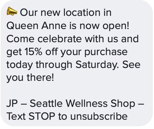 promotional text for new retail location