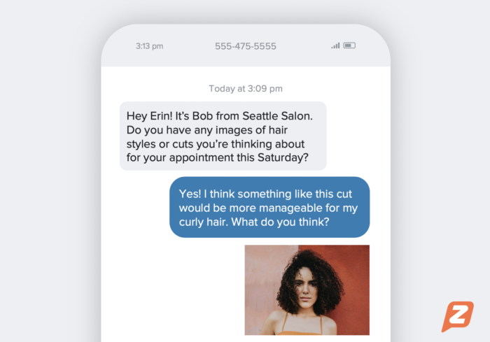 An example of a text conversation using MMS with a hair salon
