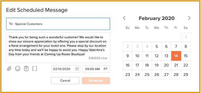 Scheduling a text message with calendar image.