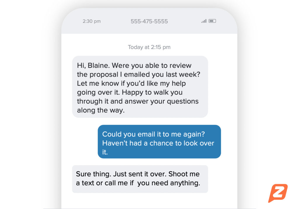 Follow up text with a customer or client sample