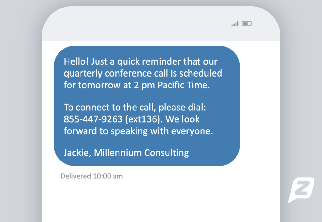 Text message reminder about an upcoming meeting