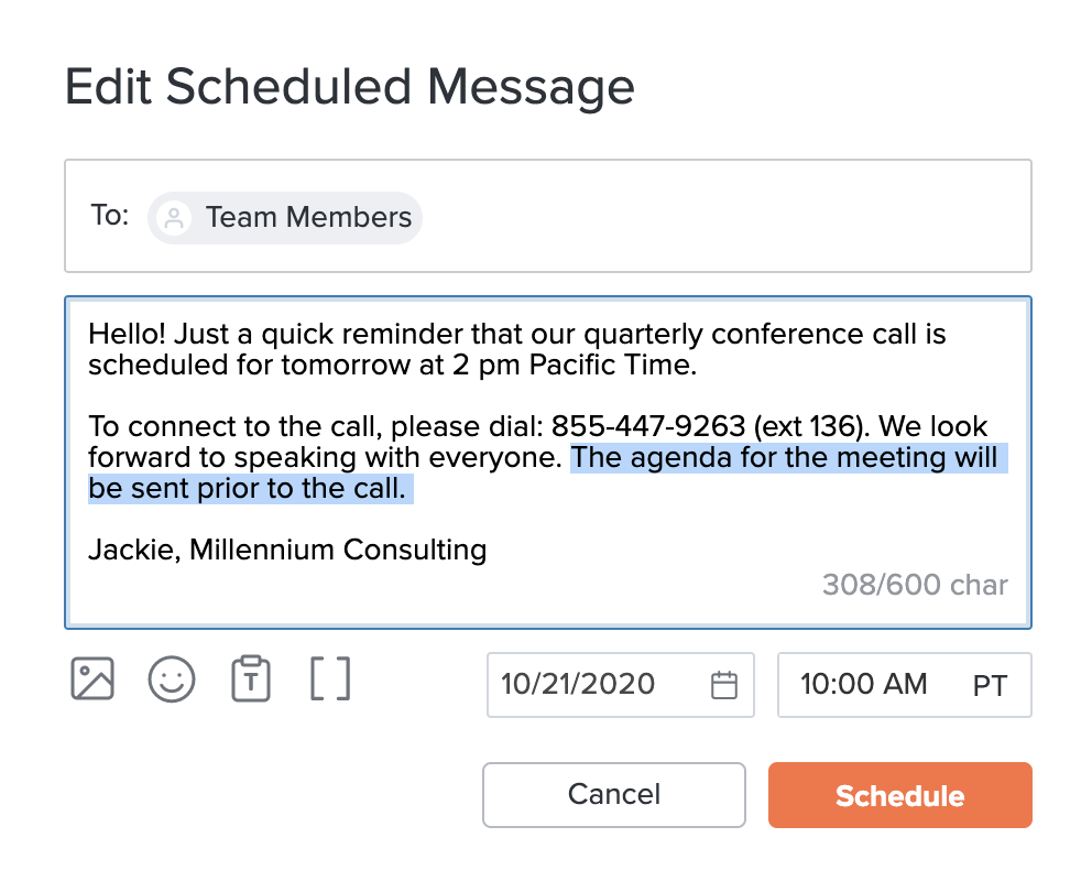 How to updated a scheduled text message
