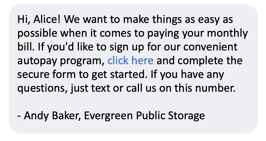 reminder text to sign up for autopay