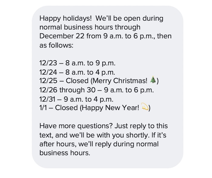Happy holidays text message with business hours