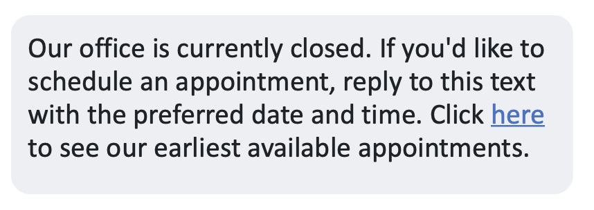 Auto reply text for appointments