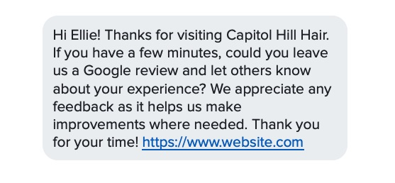 sms marketing for salon requesting online review