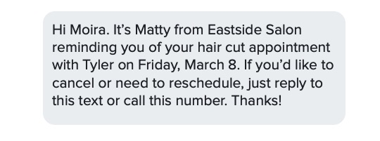 salon sms appointment reminder example