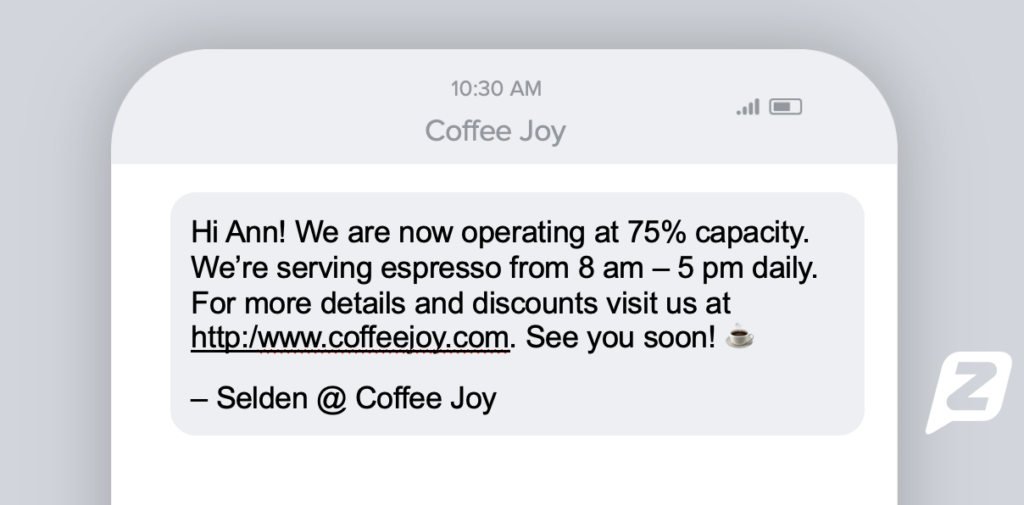 Text message from coffee shop