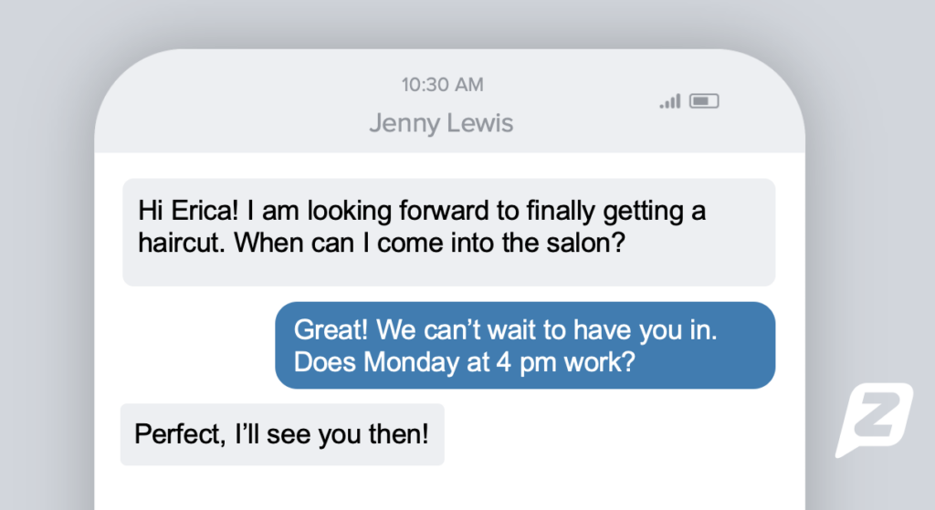 Text conversation about scheduling hair appointment