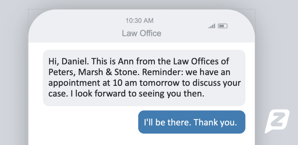 Text appointment confirmation from lawyer