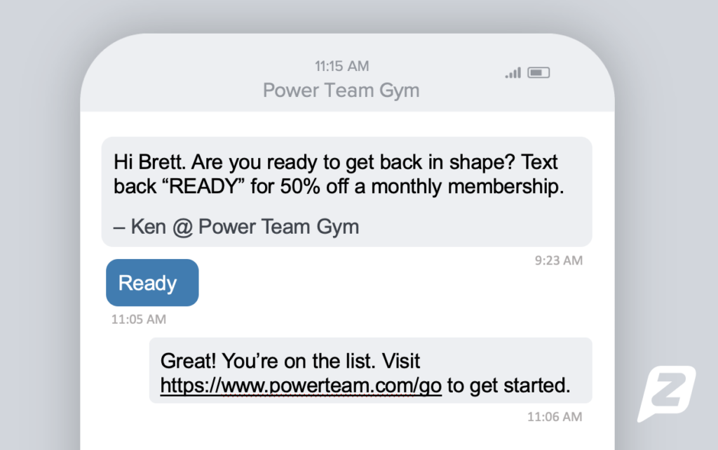 Promotional text with gym