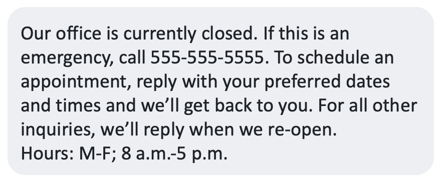 office closed auto reply text
