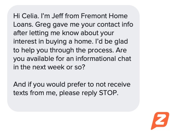 SMS mortgage text template idea