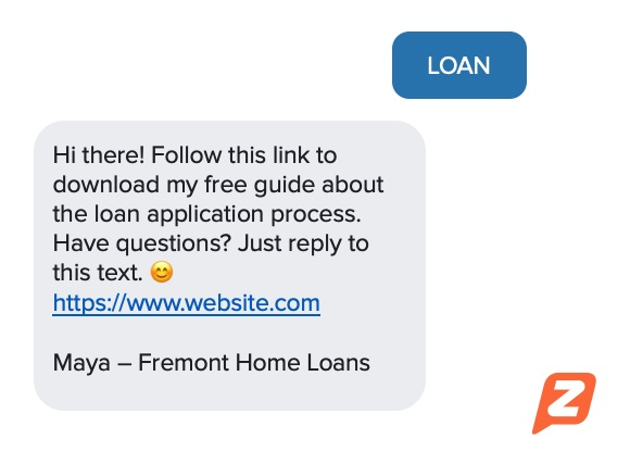 SMS mortgage template keyword example