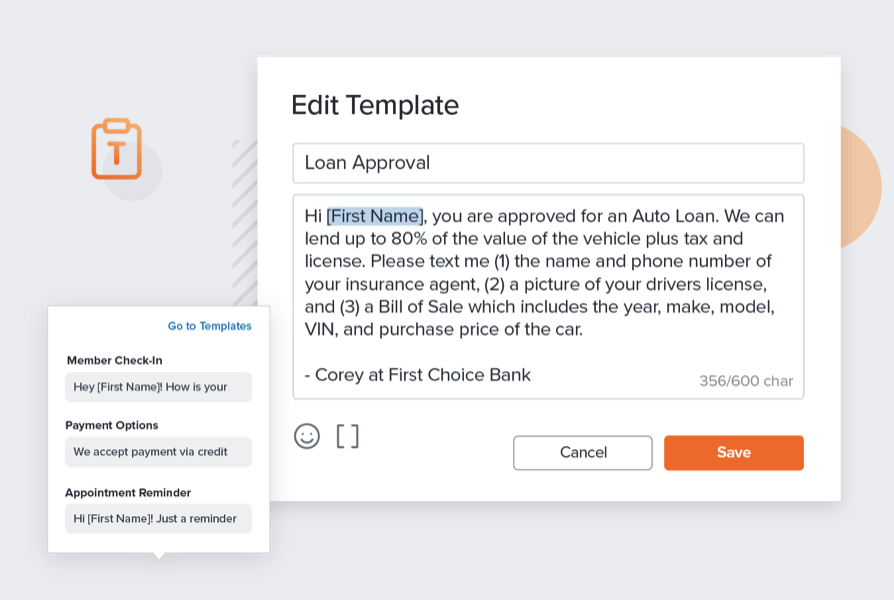 text template about bank loan