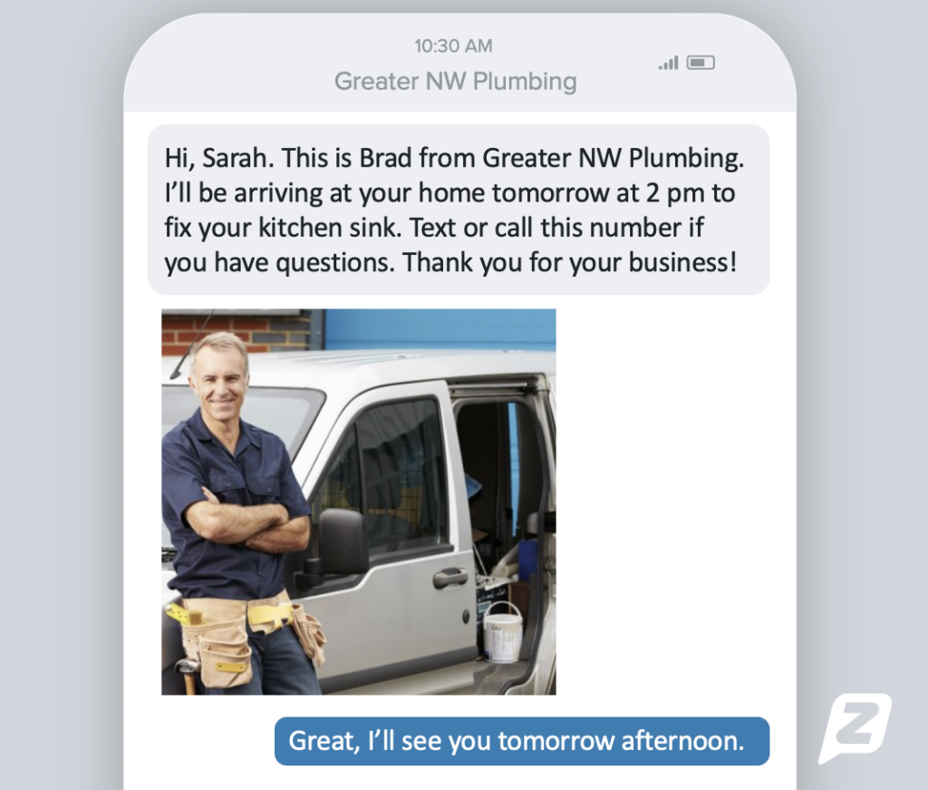 Text from plumber