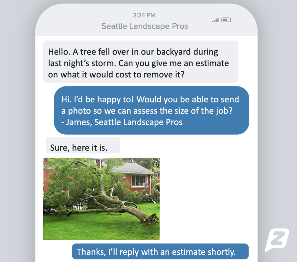 Text from tree removal service